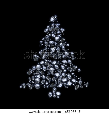 Abstract luxury diamond christmas tree isolated with clipping path - stock photo