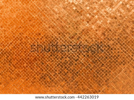 Abstract Luxury Shiny Rusty Orange Wall Flooring Tile Glass Seamless Pattern Mosaic Background Texture for Furniture Material Art Square Seamless Pattern with Shade for Modern Interior Design Style - stock photo
