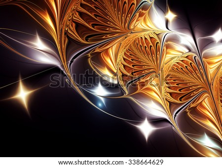 Abstract luxury sparkle bright pattern. Brilliant golden background for creative design. Glowing fantasy decoration for wallpaper, cover album, greeting card. Fractal artwork - stock photo