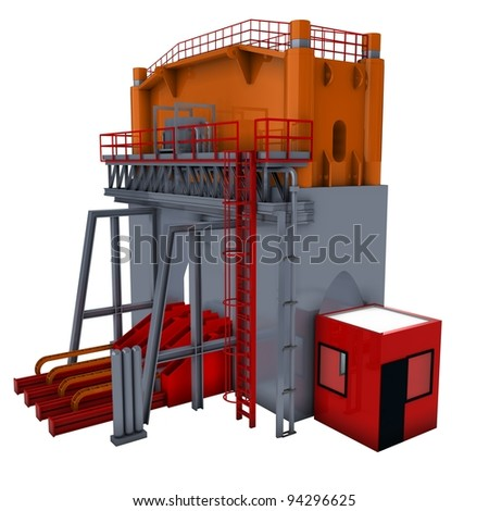 abstract machine (hydraulic press) 3d render isolated on white - stock photo