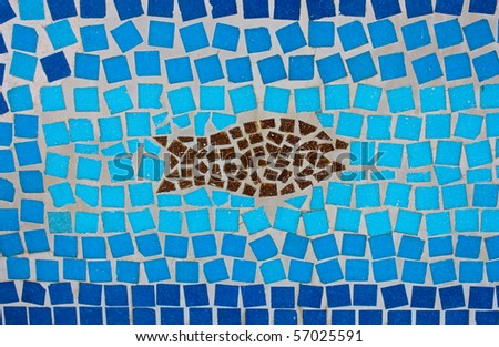 Abstract made of brown and blue mosaic tiles - stock photo
