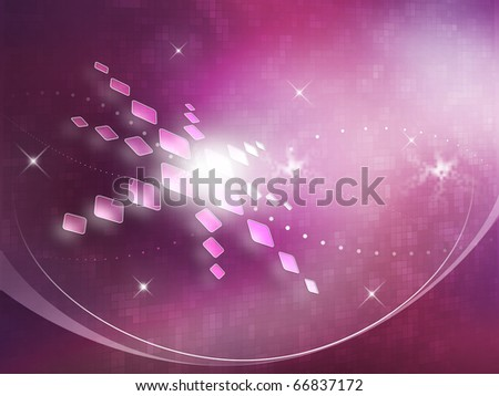 Abstract magenta background with stars and white flash.