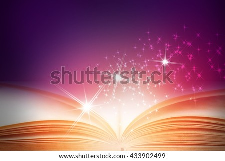 Abstract magic book on colorful background - stock photo