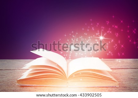 Abstract magic book on colorful background