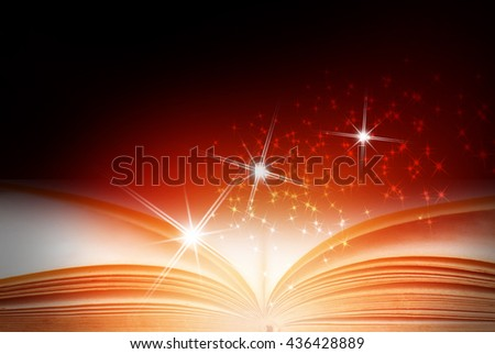 Abstract magic book on red background - stock photo