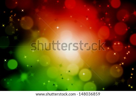 abstract magic sun light ray with glittering stars and bokeh - stock photo