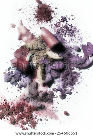 Abstract make up. Analogical shot with a color and texture treatment to give it and abstract and pictorial concept of an useful make up theme. - stock photo