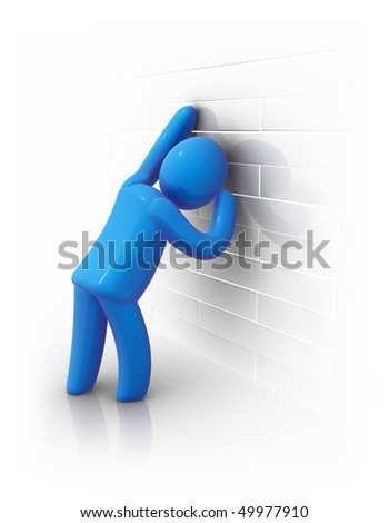 Abstract man leaning against a wall. - stock photo