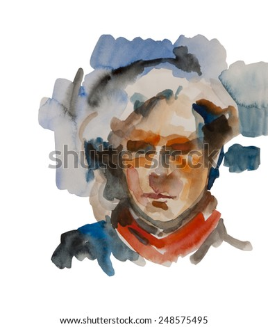 abstract man or woman androgyny watercolor consept portrait isolated on white background - stock photo