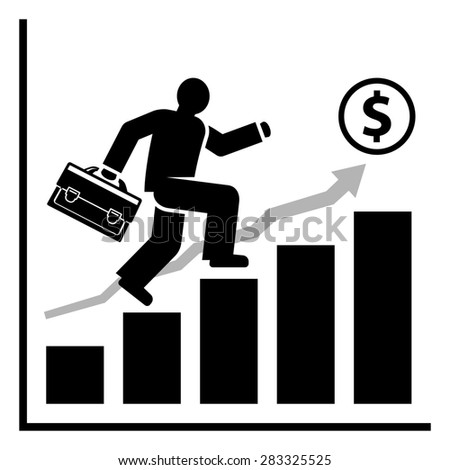 Abstract man quickly moves on the growing diagram bars towards his business success and wealth. Raster version - stock photo