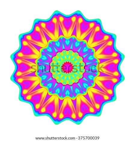 Abstract mandala in rainbow colors isolated on white background.