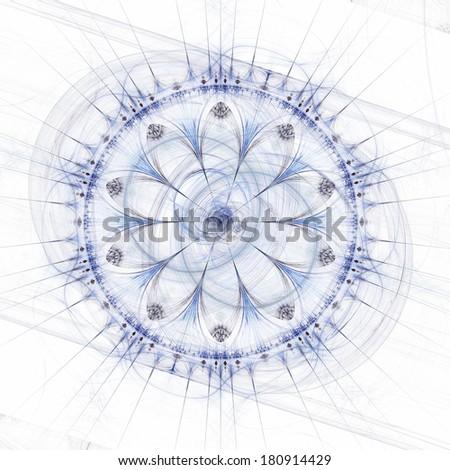 Abstract mandala or rose wheel, blue over white background - stock photo