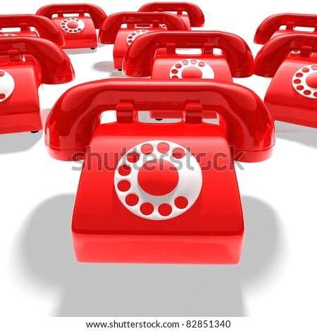 abstract - many red telephones - 3D render bitmap - stock photo