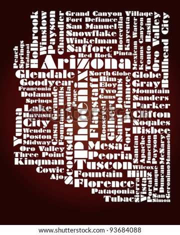abstract map of Arizona state - word cloud - stock photo