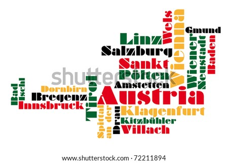 abstract map of austria / wordcloud - stock photo