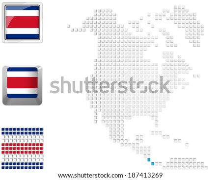 Abstract map of north america with highlighted Costa Rica and national flag