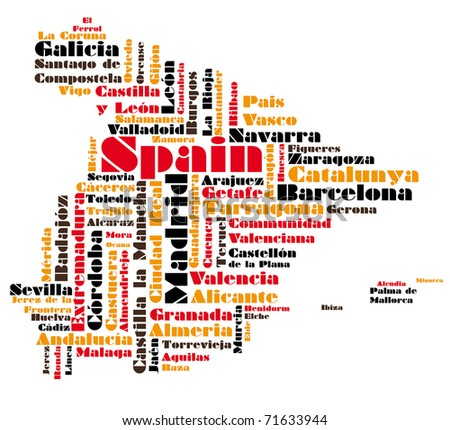 abstract map of spain - stock photo