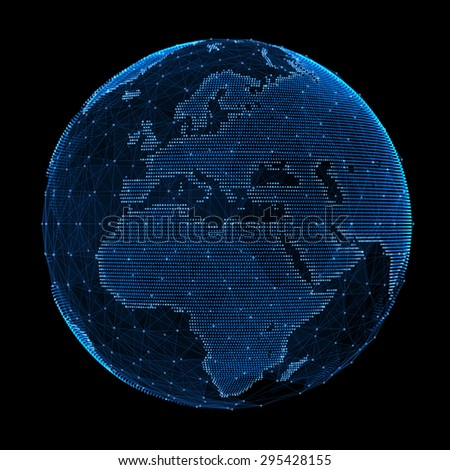 Abstract map of the global telecommunications network. - stock photo