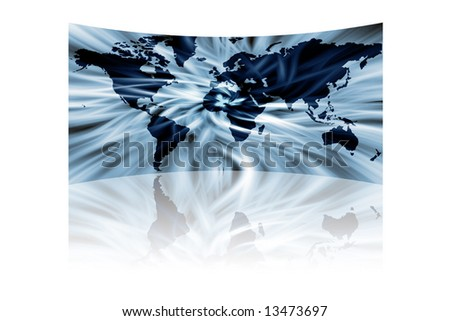 abstract map of the world with reflection isolated on black - stock photo