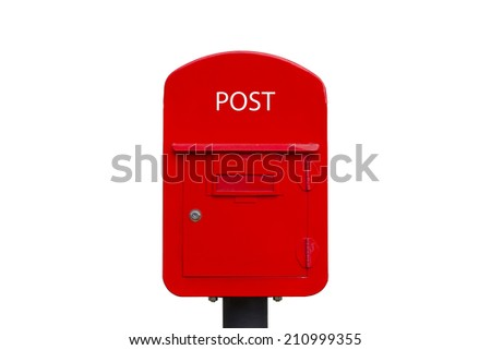 Abstract marketing design of red mailbox, postbox, letterbox as  - stock photo