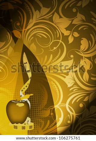 Abstract Measuring tape and apple background with space - stock photo