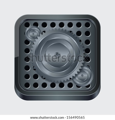 Abstract mechanical icon. Raster version of vector illustration. - stock photo