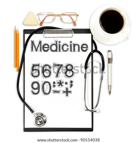 abstract medical background with office supply - stock photo
