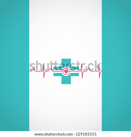 Abstract medical cardiology ekg illustration red blue background  - stock photo