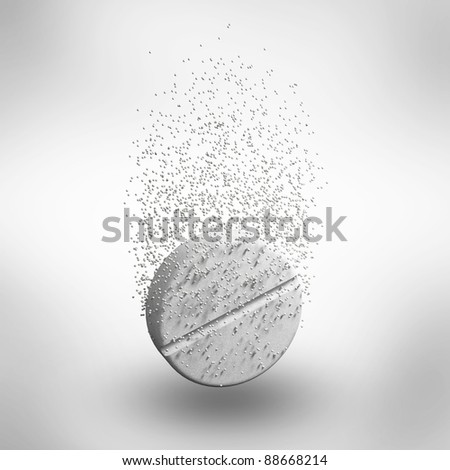 Abstract medicine tablet pill in a water with bubbles isolated on white background. 3d Illustration. Close-up - stock photo