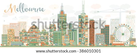 Abstract Melbourne Skyline with Color Buildings. Business Travel and Tourism Concept with Modern Buildings. Image for Presentation Banner Placard and Web Site. - stock photo