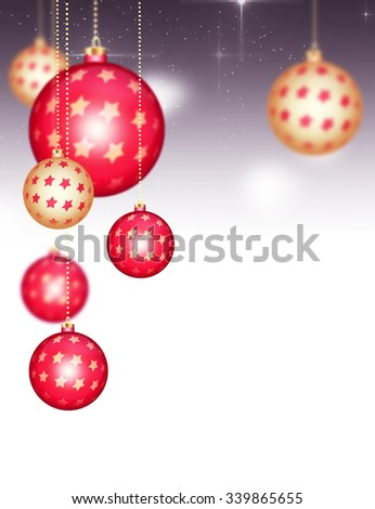 Abstract Merry Christmas Background. Beautiful Gold and Red Baubles and Gold Chains. Happy Holidays 2016 Greeting Card Concept. Happy New Year Background with Sparkles, Star Dust and Shining Balls. - stock photo