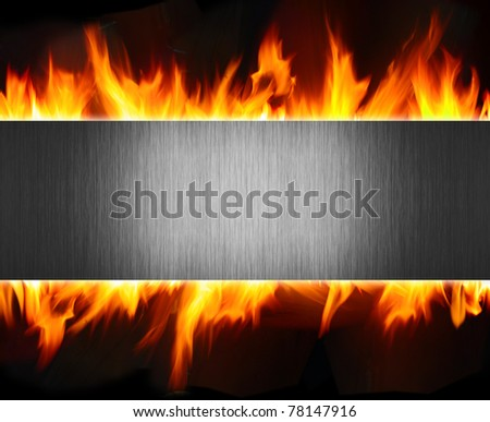 abstract metal and fire flame background - stock photo