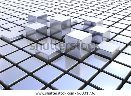 Abstract metal background of 3d blocks