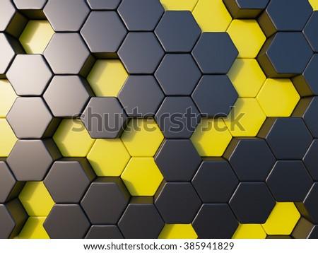 abstract metal bee hive background random bee hive , hextagon background - stock photo