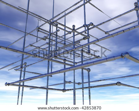 abstract metal construction under cloudy blue sky - 3d illustration