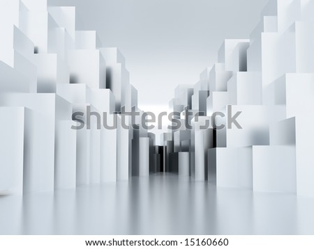 Abstract metal cubic surface of white-blue color - stock photo