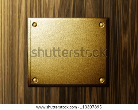 Abstract metal plate on wood background template.