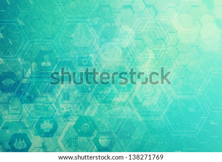 Abstract metal vintage molecules medical background - stock photo
