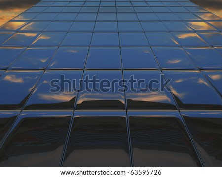 Abstract metal wall against cloudy sky - stock photo
