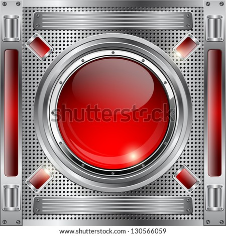 Abstract metallic background with red button. Raster version of vector illustration. - stock photo