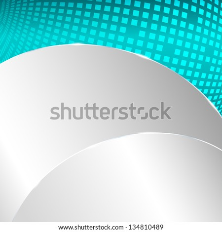 Abstract metallic background with turquoise element. Raster version.