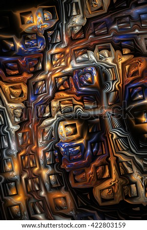 Abstract metallic blue and brown puzzles on black background. Creative fractal design for greeting cards or t-shirts. - stock photo