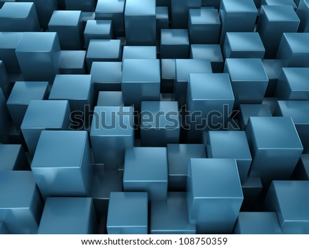 Abstract metallic blue cubes background - stock photo