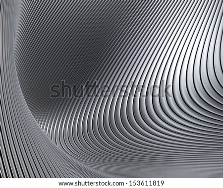 Abstract metallic shapes background. Beautiful metal curves luxury wallpaper - stock photo