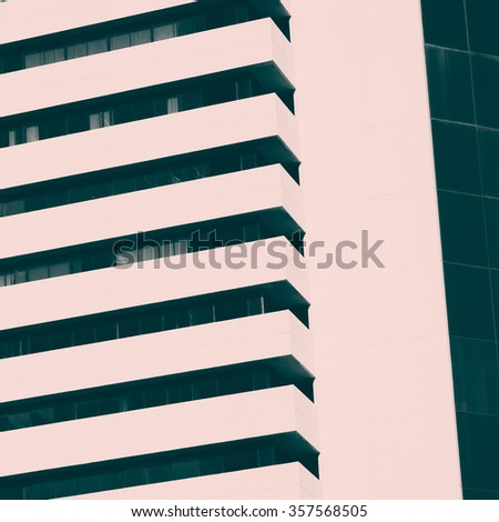 Abstract minimal style architecture background. Modern building facade detail. Retro colors stylization - stock photo