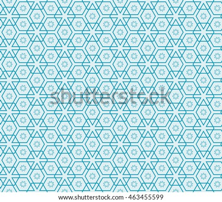 Abstract mirror seamless pattern with abstract floral and leave style. Repeating sample figure and line. For modern interiors design, wallpaper, textile industry. Blue color