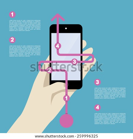 Abstract mobile with Infographic road or path line for Flyers or Broschures. - stock photo