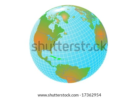 Abstract model of world on white - stock photo