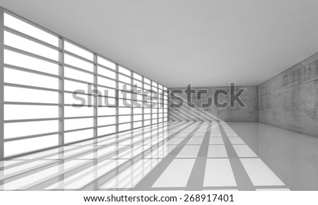 Abstract modern architecture background, empty white open space interior with bright windows and gray concrete walls, 3d illustration