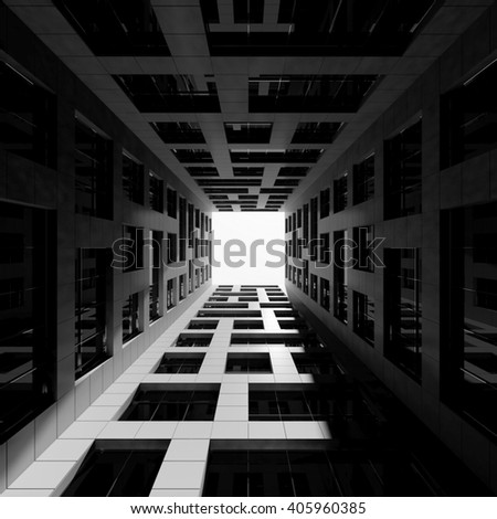 Abstract modern architecture. Inner courtyard of tall modern office tower. 3d render illustration - stock photo
